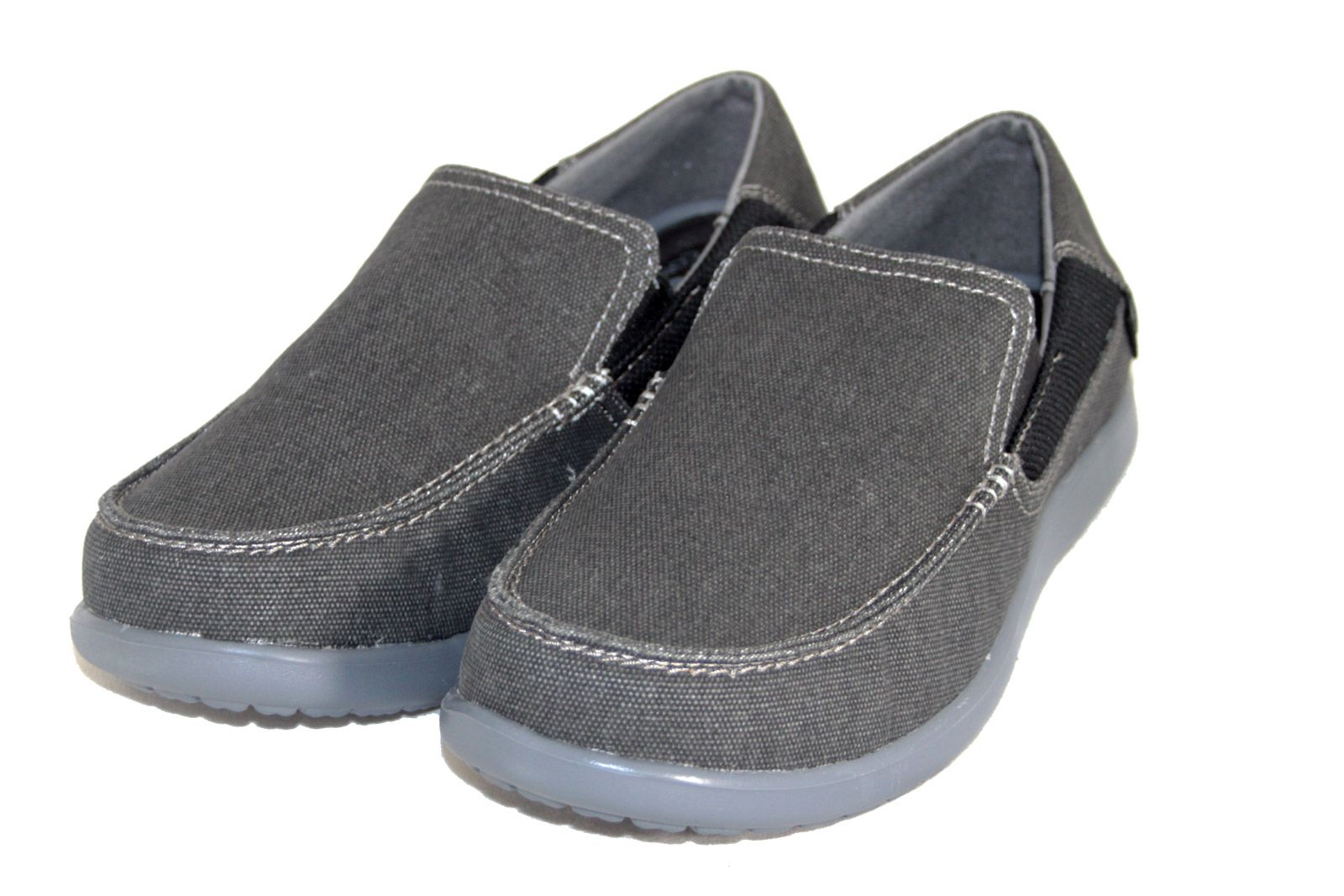 Mens Crocs Santa Cruz 2 Luxe Leather Charcoal Slip On Loafers with Soft Footbed