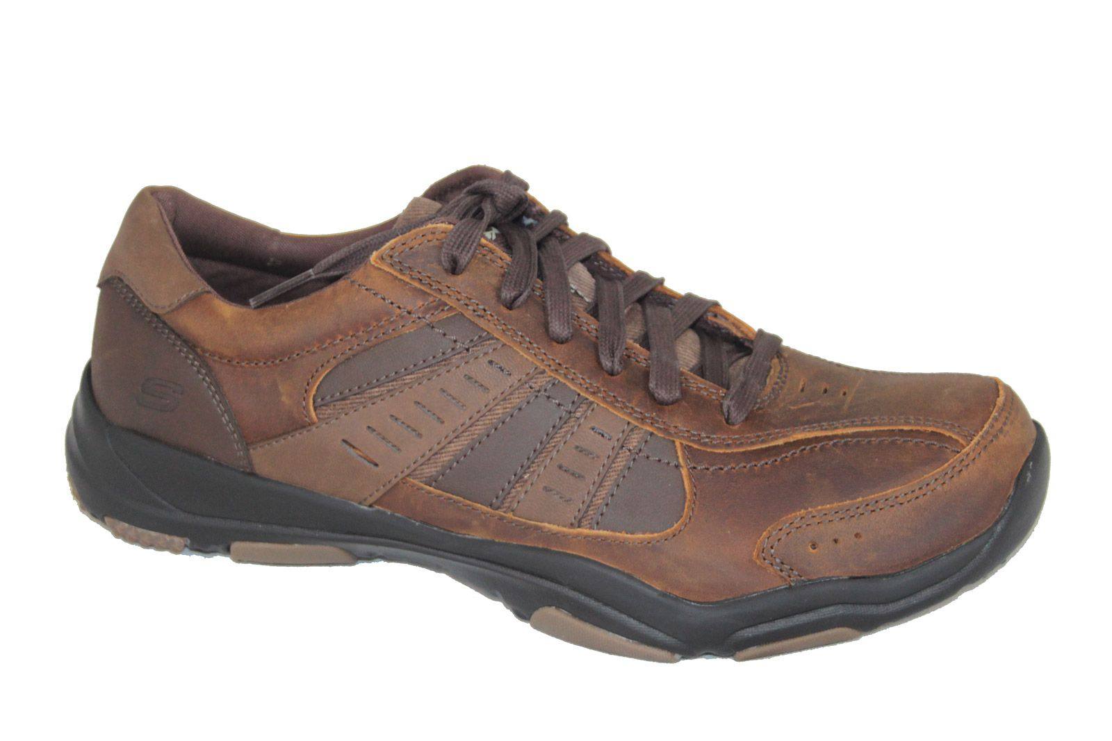 Details about Skechers Relaxed Fit Larson Trainers in Black & Brown 64833